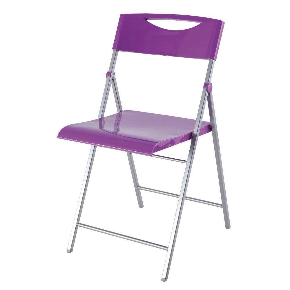 Chaises pliantes smile en abs glossy et piètement métal - coloris violet - par 2 (photo)