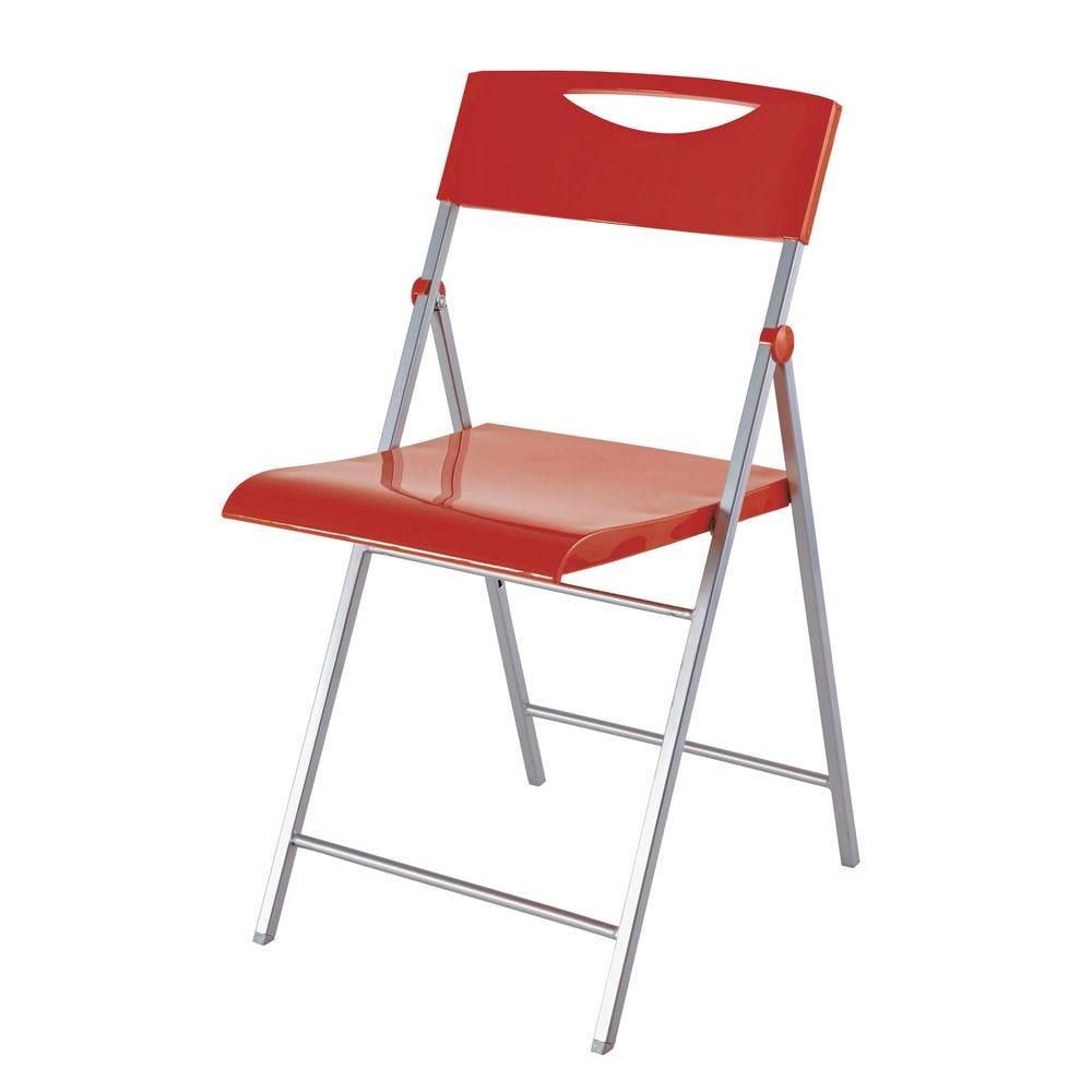 Chaise pliante smile en abs glossy et piètement métal - coloris rouge - par 2 (photo)