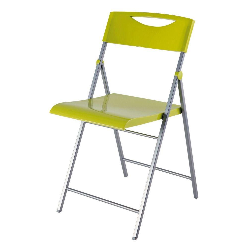 Chaise pliante smile en abs glossy et piètement métal - coloris vert - par 2 (photo)
