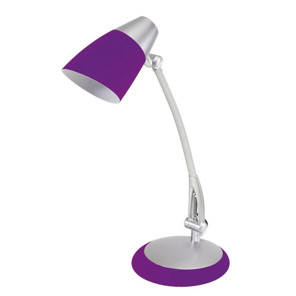 Lampe fluorescente de bureau fluofit prune avec abat jour (photo)