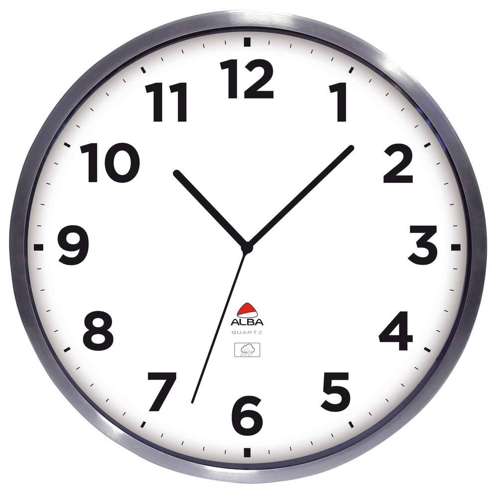 Horloge murale extèrieur étanche diamètre 35cm cadran aluminium (photo)