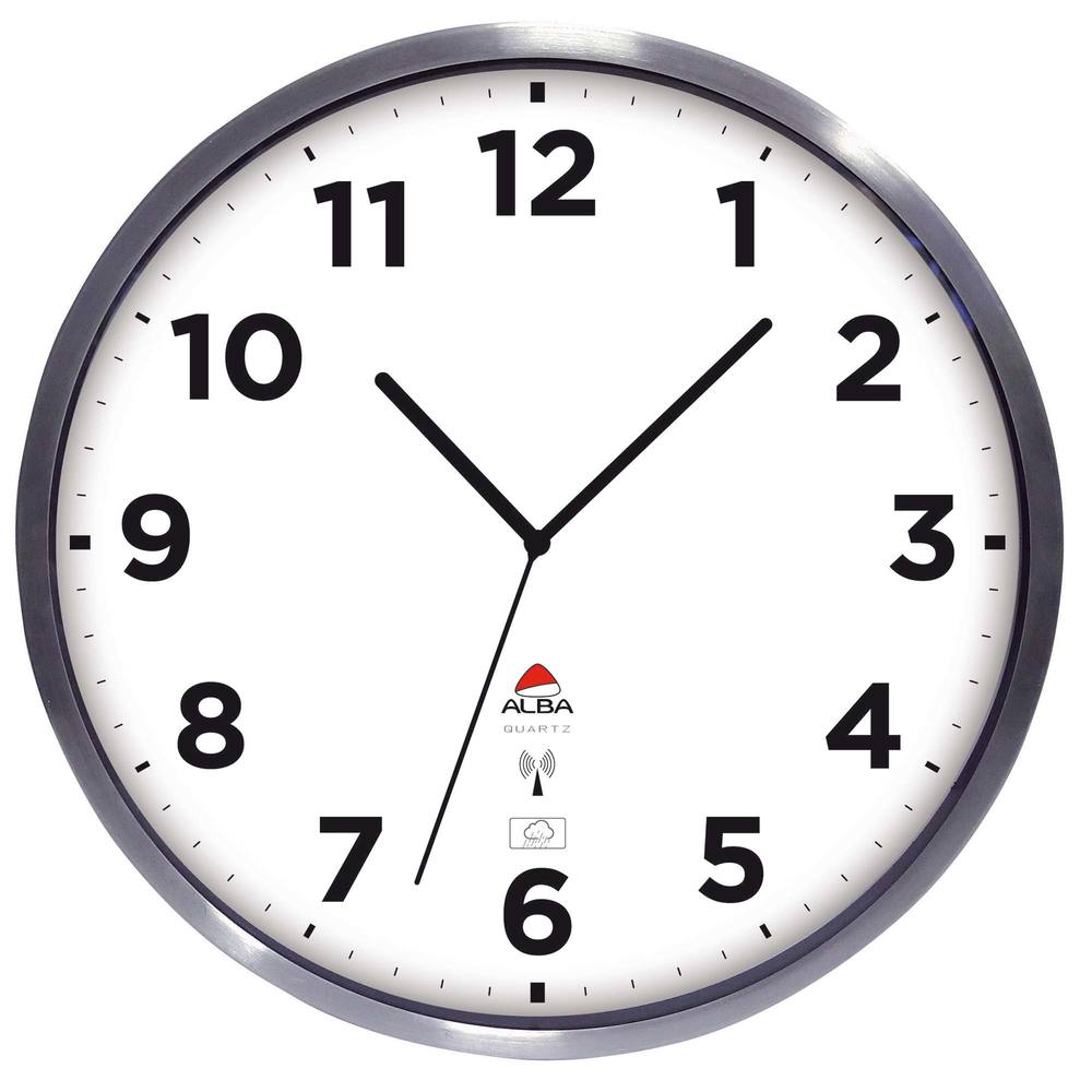 Horloge murale étanche diam. 35cm cadran aluminium mise à l'heure automatique (photo)