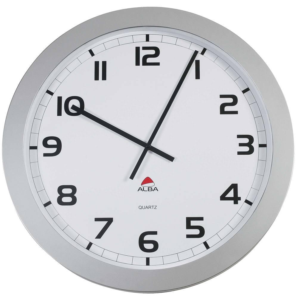 Horloge murale géante diam 60 cm - contour gris métal (photo)