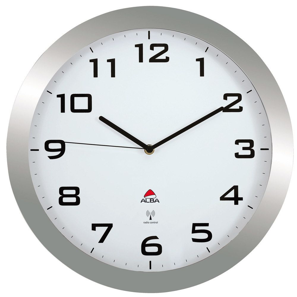 Horloge murale diam. 38cm mise à l'heure automatique - contour gris métal (photo)