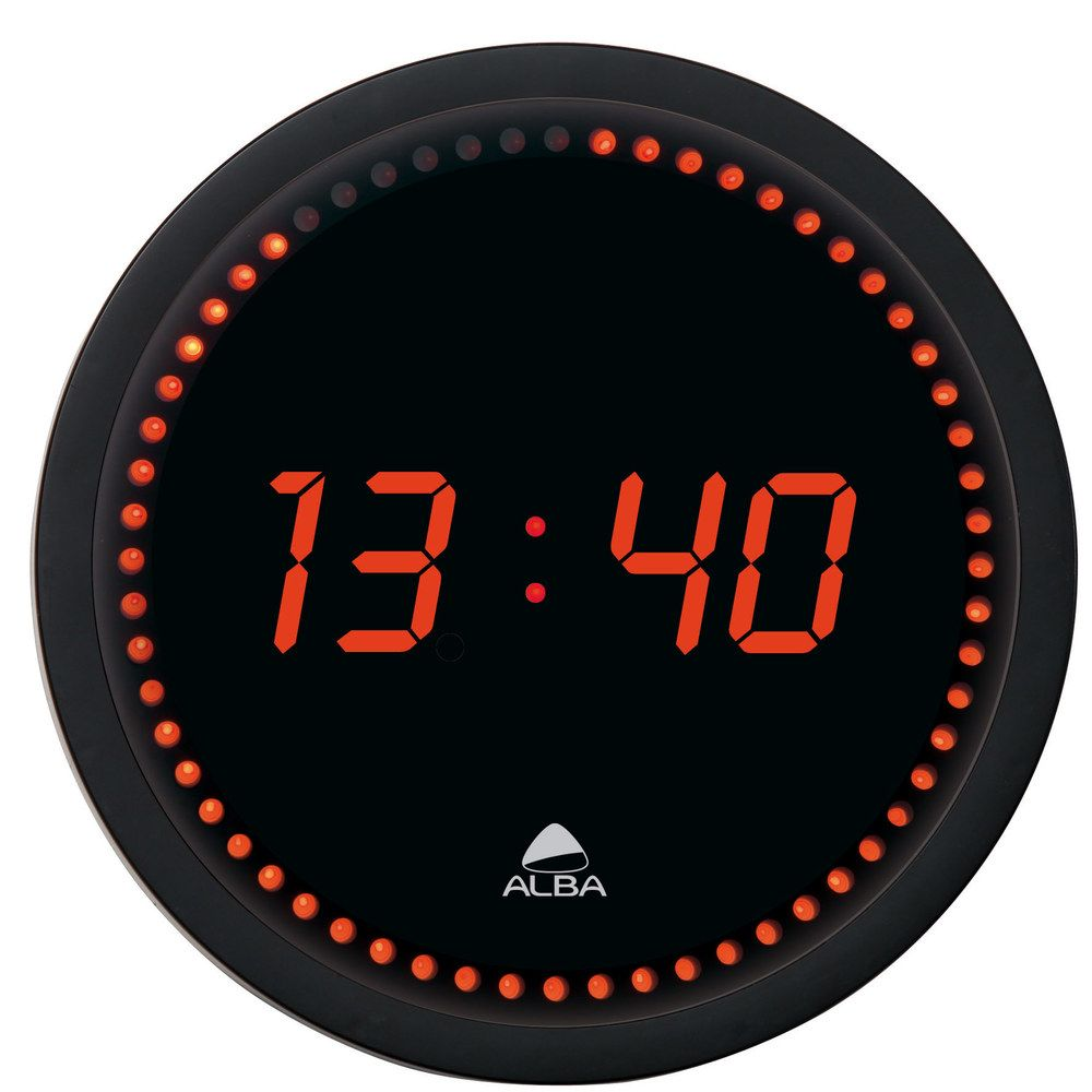 Horloge murale led diam. 30cm contour noir et diodes rouges (photo)