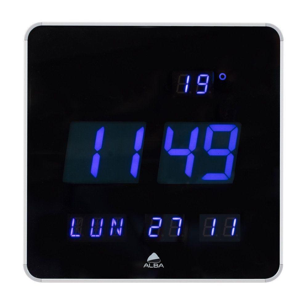 Horloge murale ou à poser led format carré contour noir et diodes bleues (photo)