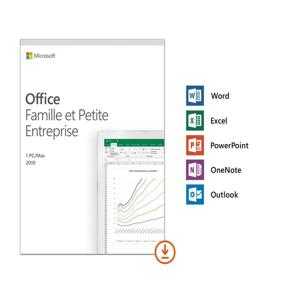 Microsoft Off. 2019 Fam. et Pet.Entreprises - 1 util. - Win et Mac - Sans abonn.