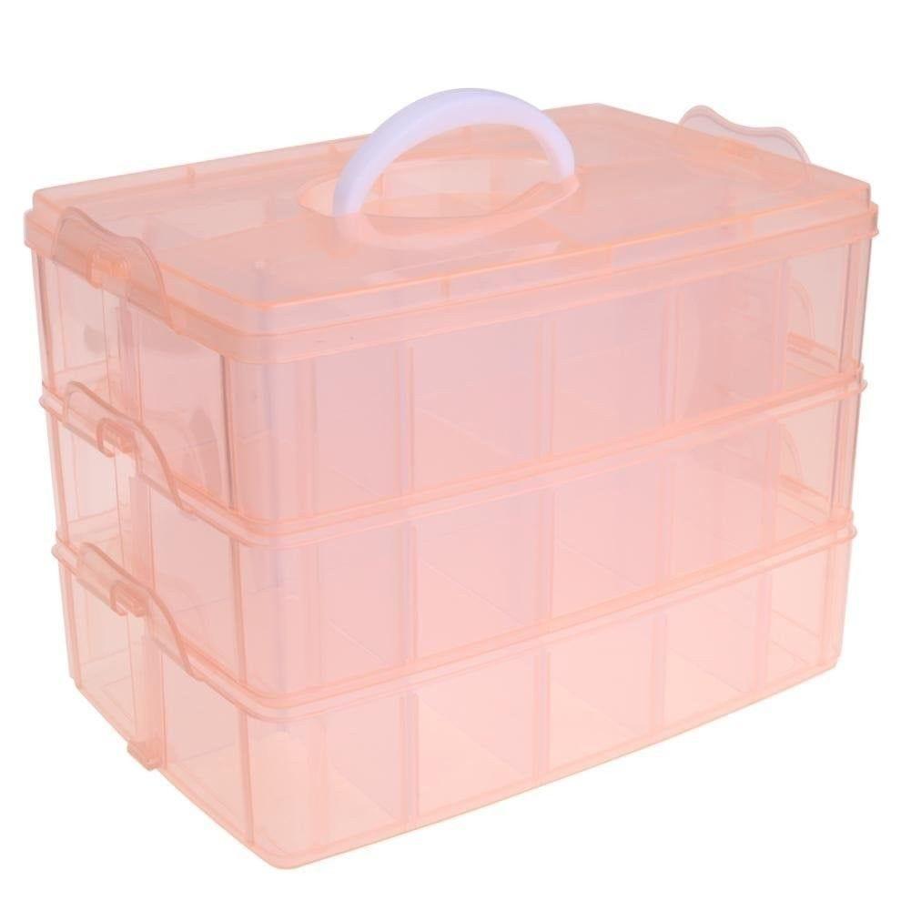 Boite de rangement plastique 30 compartiments orange (photo)