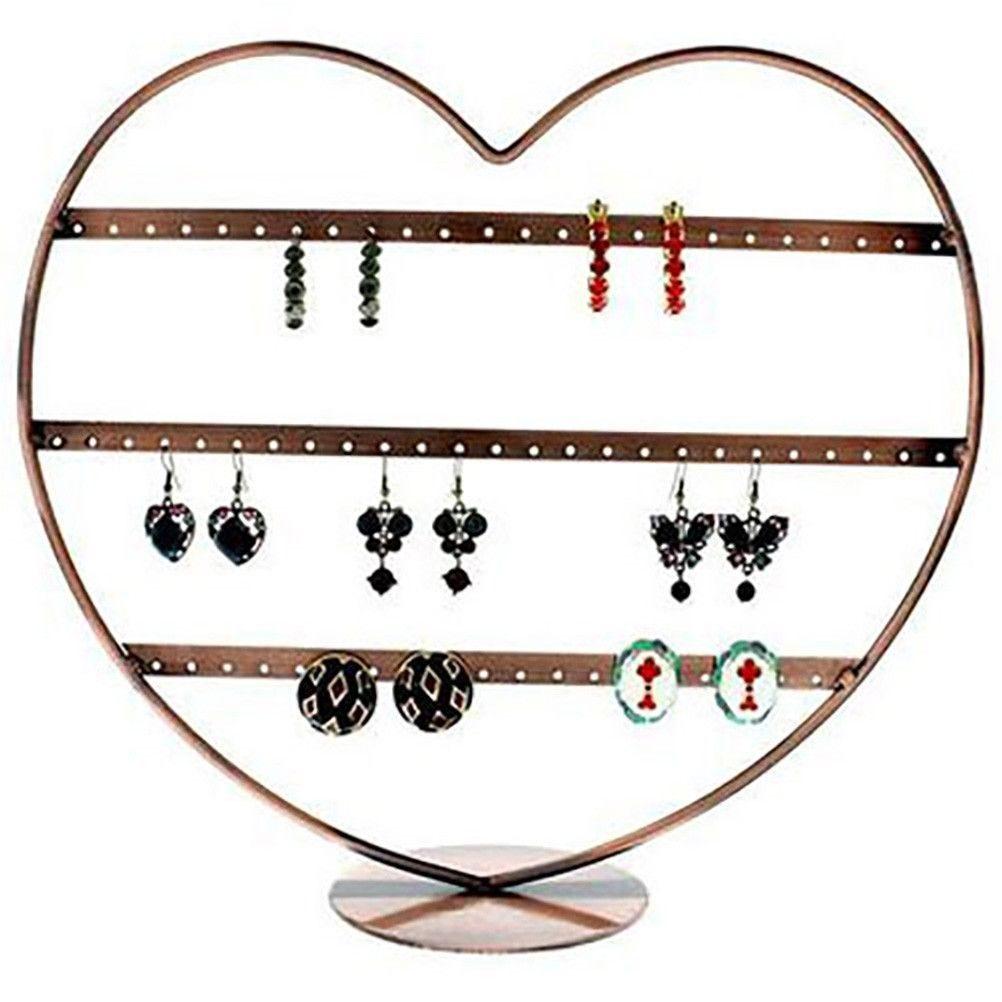 Porte bijoux boucle d'oreille coeur (34 paires) cuivre (photo)