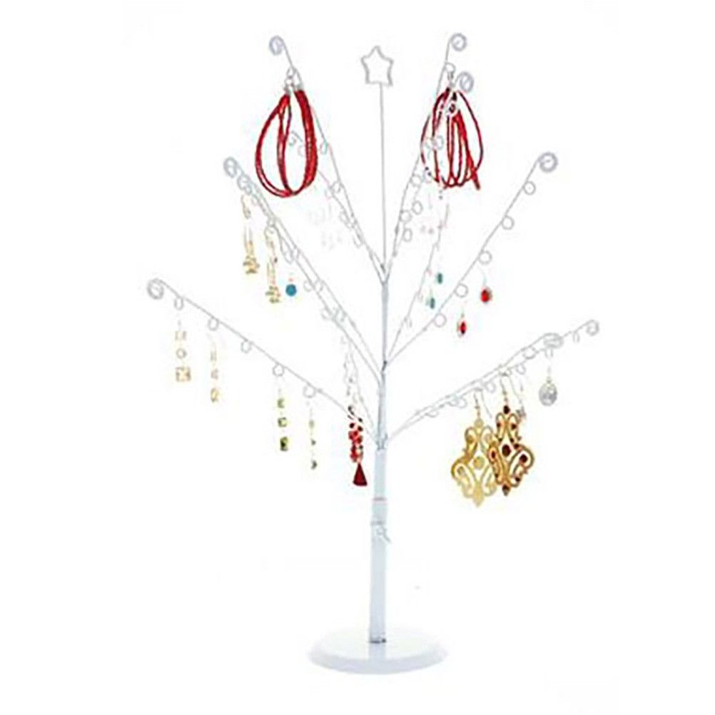 Porte bijoux arbre à boucle d'oreille 14 crochets blanc