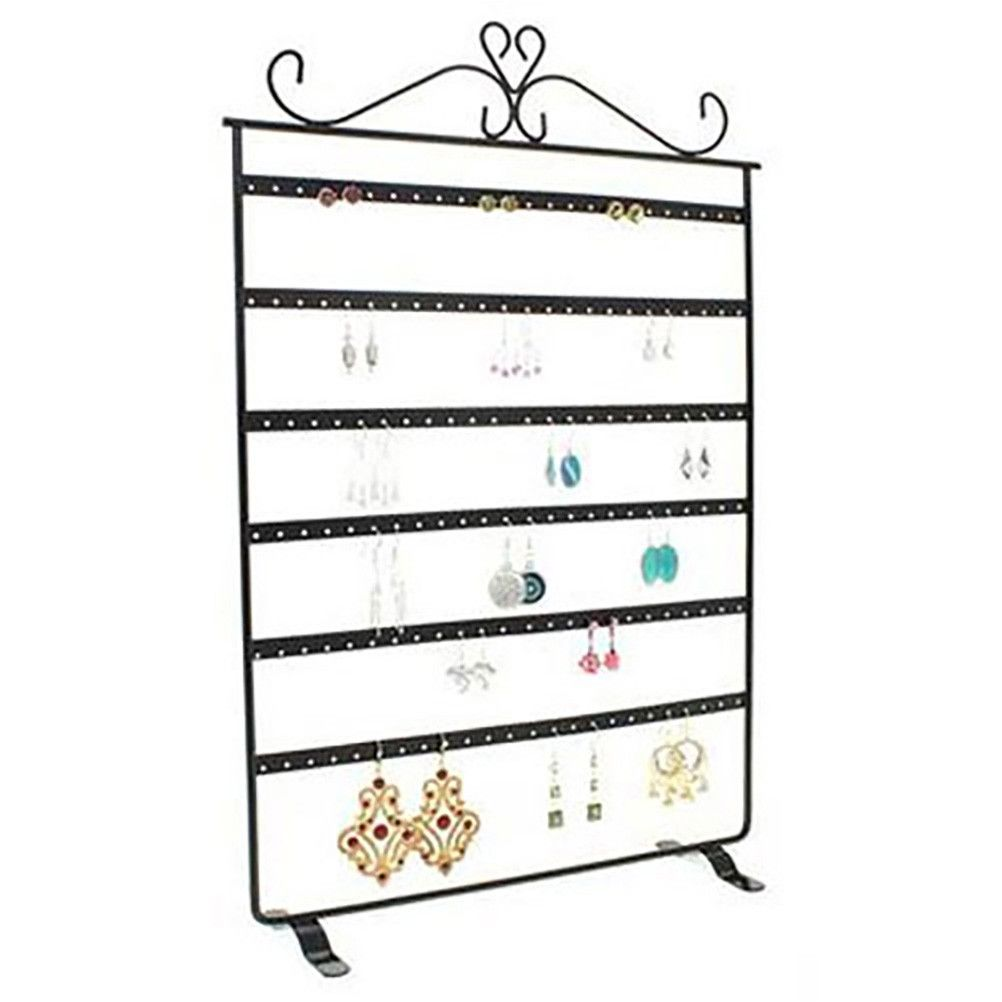 Porte bijoux cadre porte boucle d'oreille 6 rangs (72 paires) noir (photo)