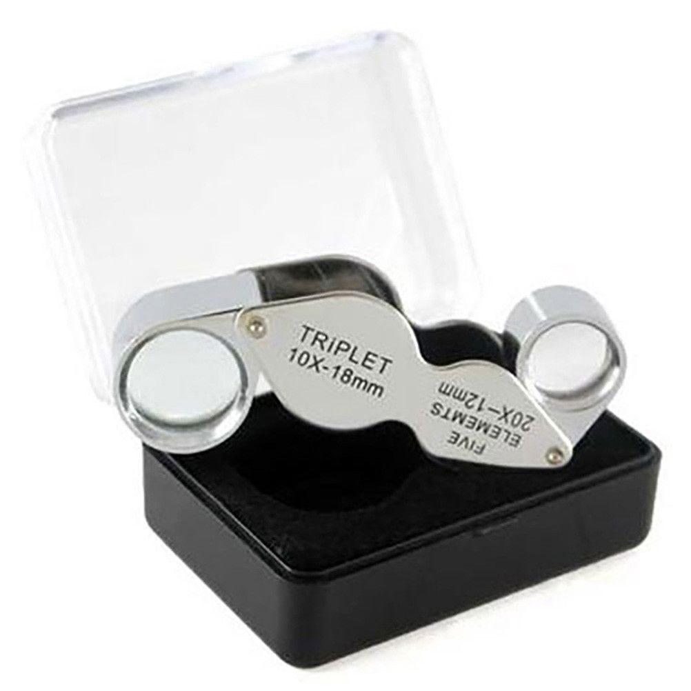 Outils et nettoyants loupe de bijoutier double x10 et x20 gris (photo)