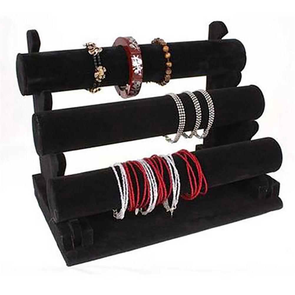 Porte bijoux jonc porte bracelet et montre en velours à 3 rangs noir