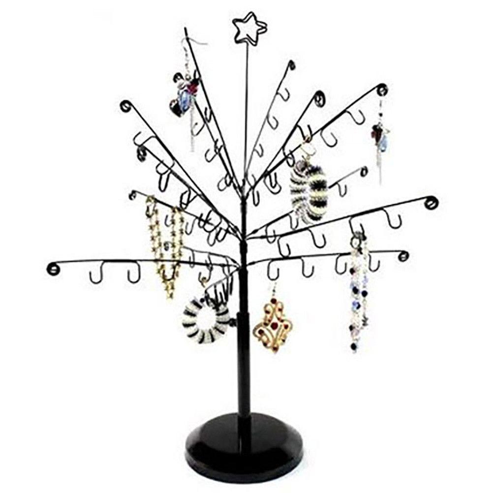 Porte bijoux arbre à bijoux mixte et boucle d'oreille sapin noir