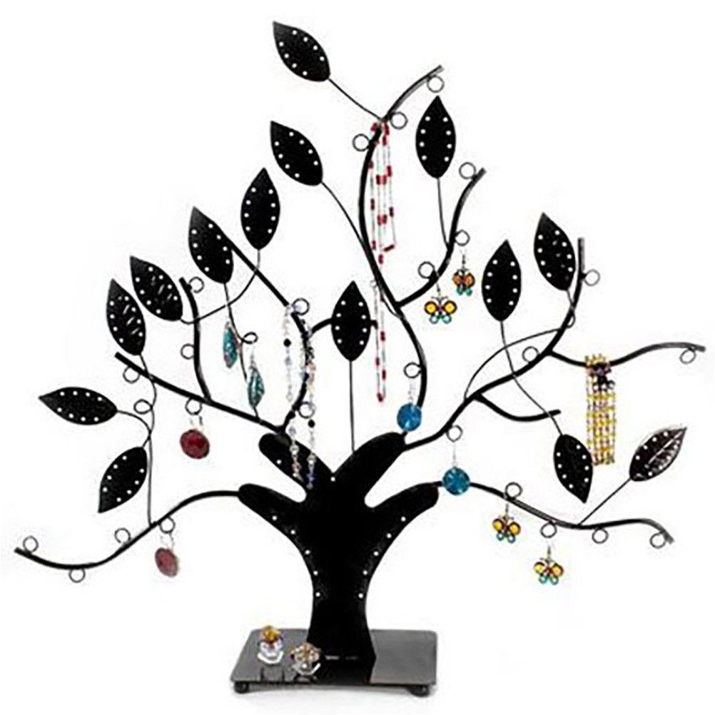 Porte bijoux arbre à boucle d'oreille et bijoux design noir (photo)