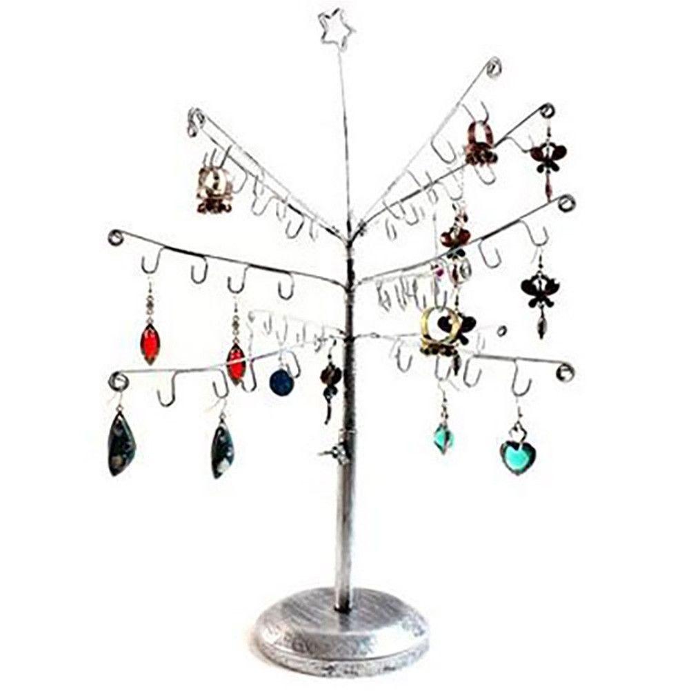 Porte bijoux arbre à bijoux mixte et boucle d'oreille sapin gris