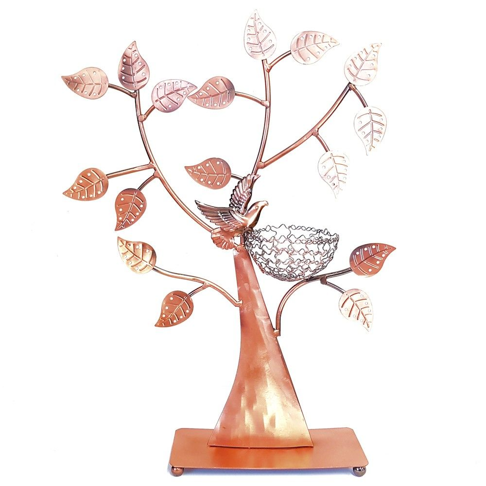 Porte bijoux arbre à boucle d'oreille oiseau (50 paires) cuivre (photo)