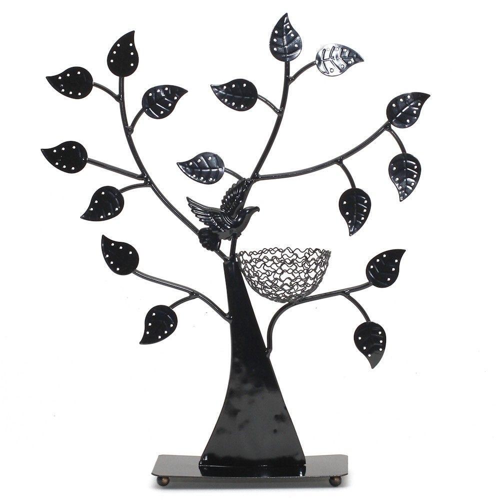 Porte bijoux arbre à boucle d'oreille oiseau (50 paires) noir (photo)