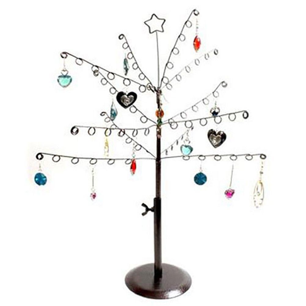 Porte bijoux arbre à boucle d'oreille 14 crochets rouille patiné