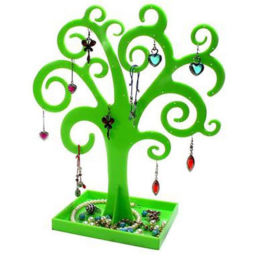 Porte bijoux arbre à boucle d'oreille et bijoux curly tree vert (photo)