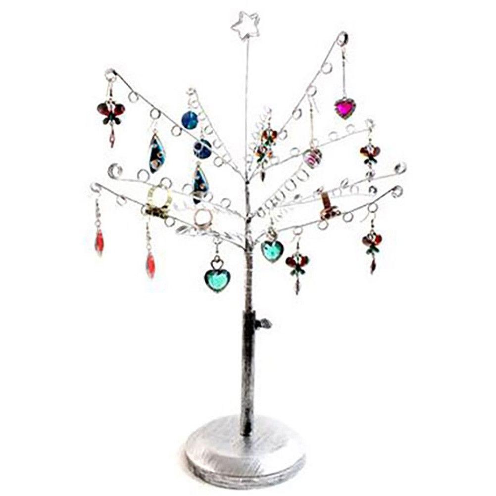 Porte bijoux arbre à boucle d'oreille 14 crochets gris patiné