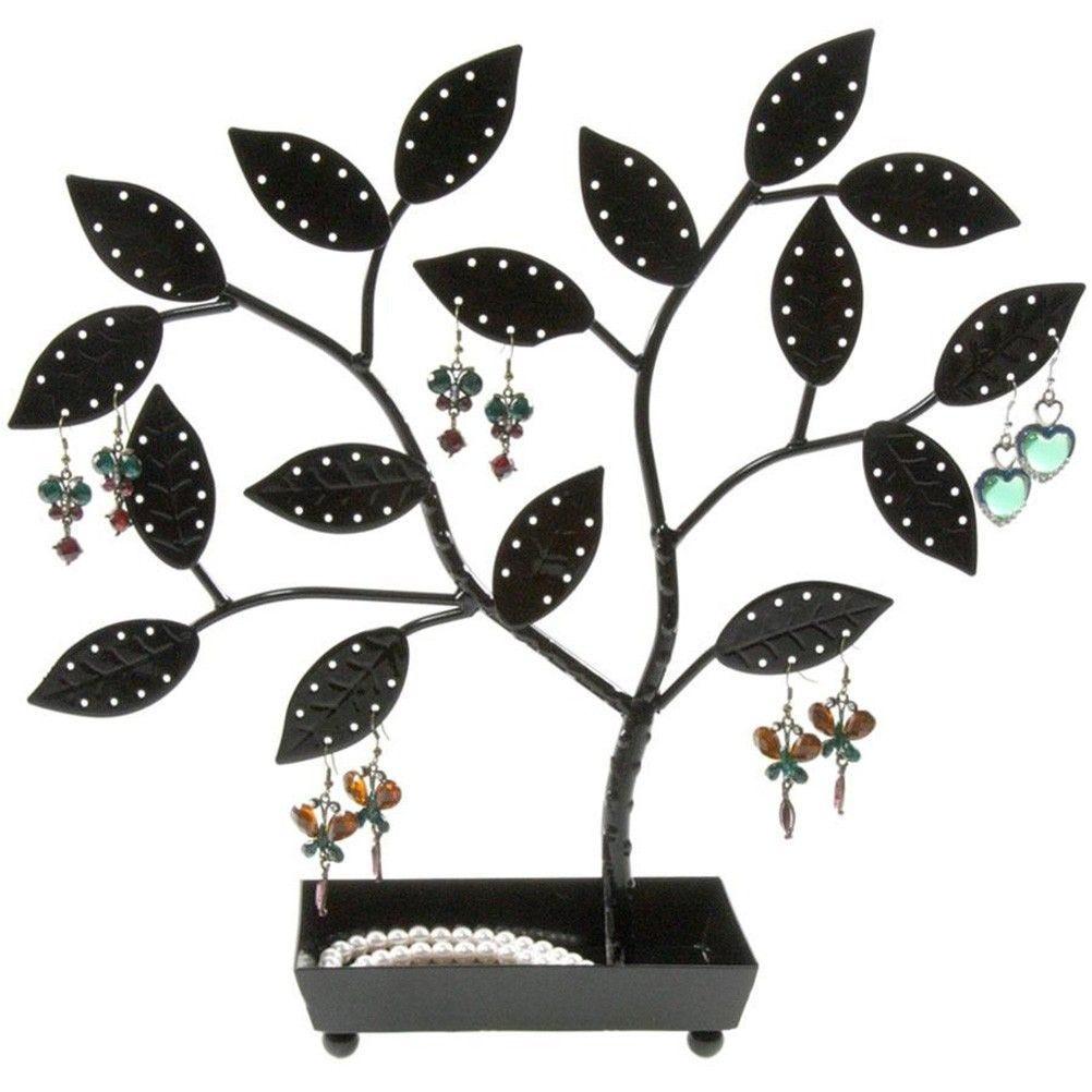 Porte bijoux arbre à boucle d'oreille pot (60 paires) noir (photo)