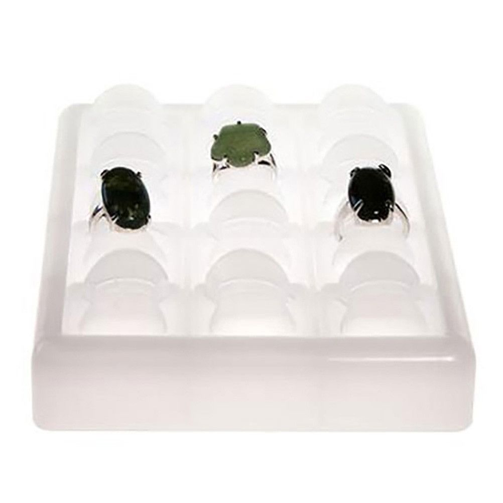Porte bijoux plateau presentoir bague ice cube (12 bagues) translucide