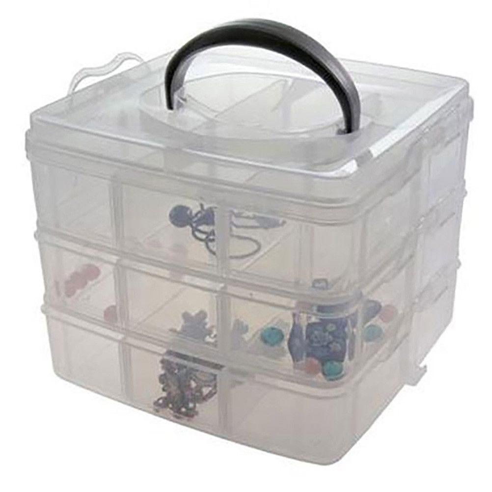 Boite de rangement plastique 18 compartiments translucide (photo)