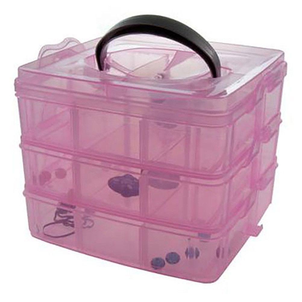 Boite de rangement plastique 18 compartiments rose (photo)