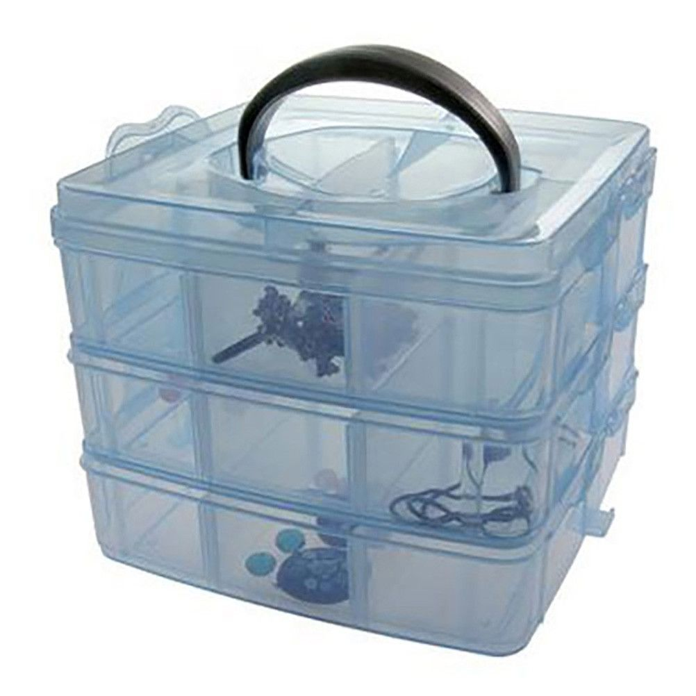Boite de rangement plastique 18 compartiments bleu (photo)