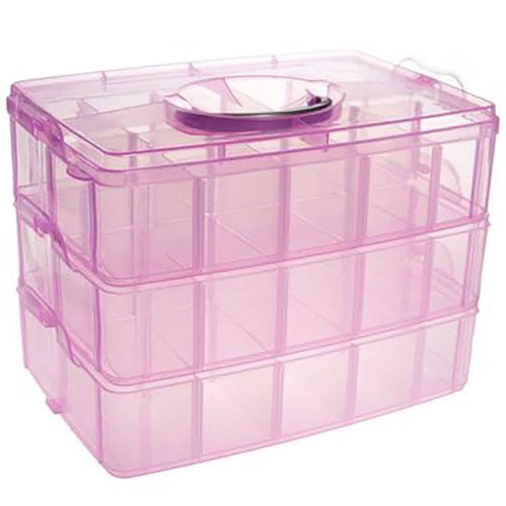 Boite de rangement plastique 30 compartiments rose (photo)