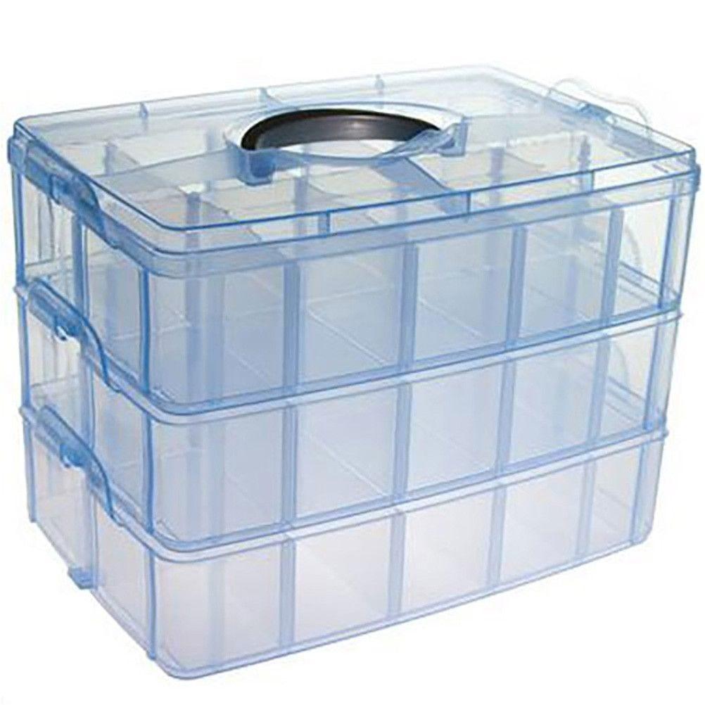Boite de rangement plastique 30 compartiments bleu (photo)