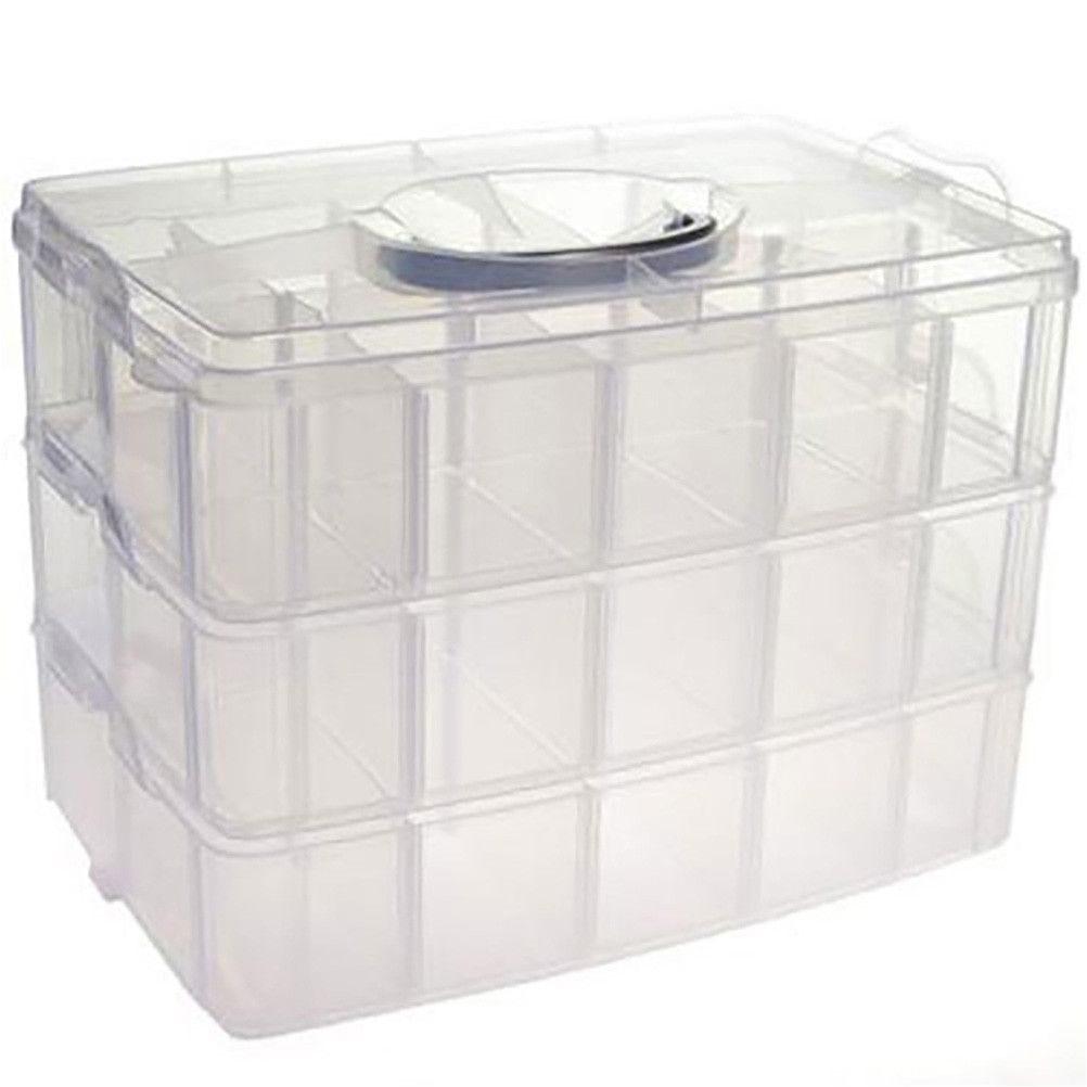 Boite de rangement plastique 30 compartiments translucide (photo)