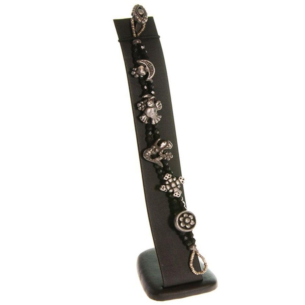 Porte bijoux support bracelet toboggan vertical large en simili cuir noir (photo)
