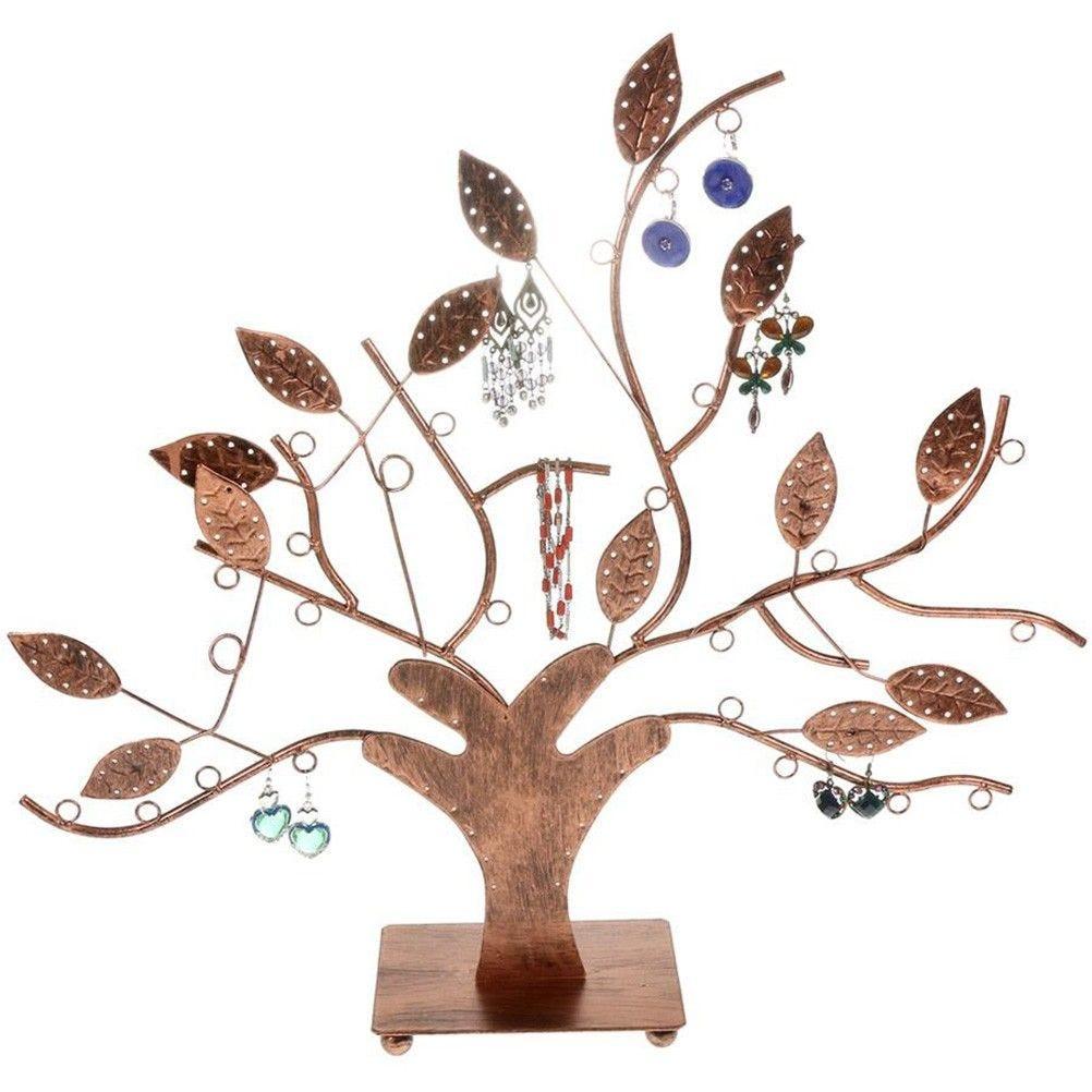 Porte bijoux arbre à boucle d'oreille et bijoux design cuivre patiné (photo)