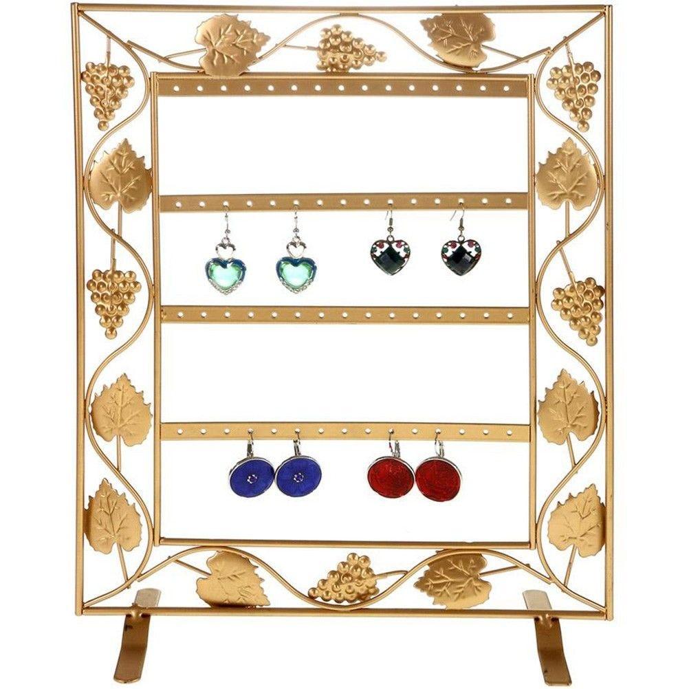 Porte bijoux cadre porte boucle d'oreille vignes (28 paires) doré (photo)