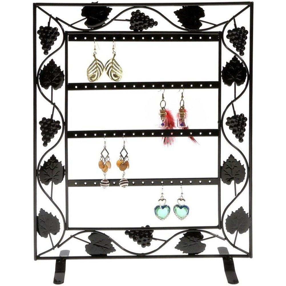 Porte bijoux cadre porte boucle d'oreille vignes (28 paires) noir (photo)