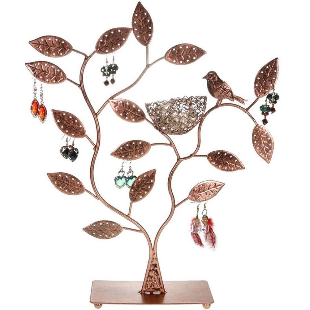 Porte bijoux arbre à boucle d'oreille piou piou (60 paires) cuivre patiné (photo)