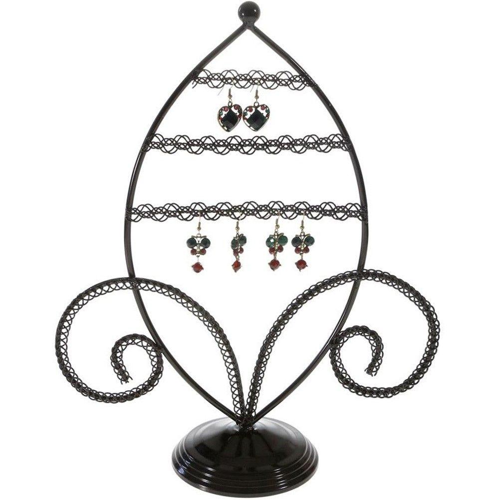 Porte bijoux porte boucle d'oreille amande noir
