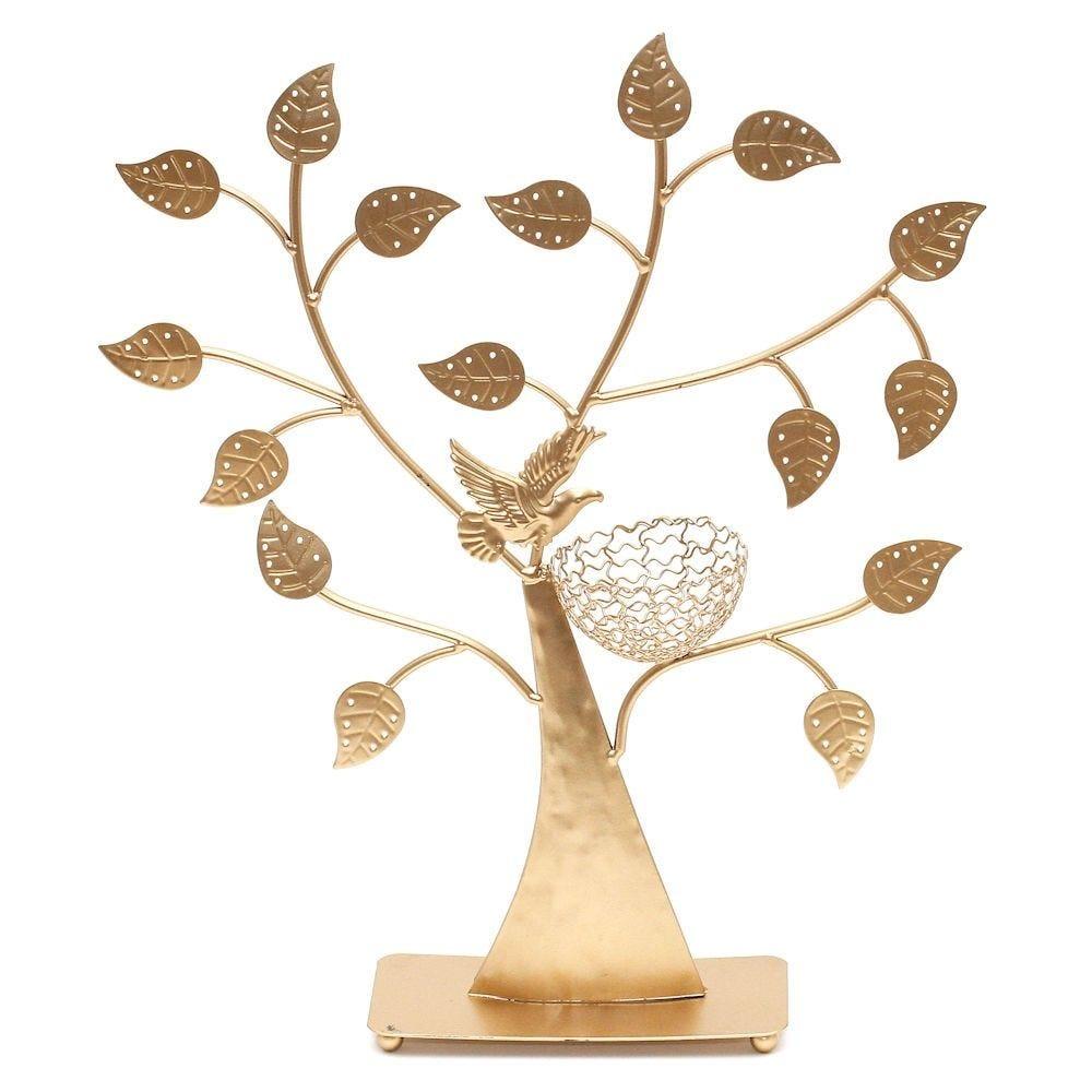 Porte bijoux arbre à boucle d'oreille oiseau (50 paires) doré (photo)
