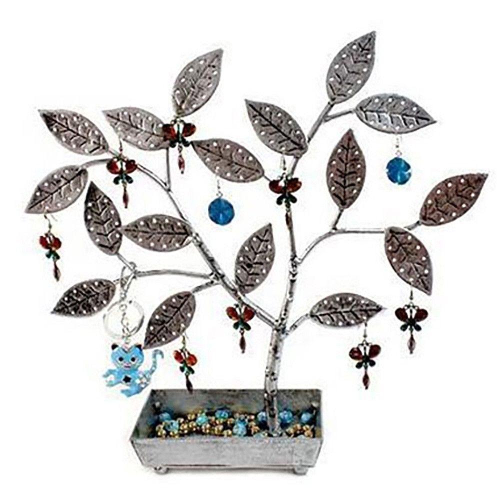 Porte bijoux arbre à boucle d'oreille pot (60 paires) gris patiné (photo)