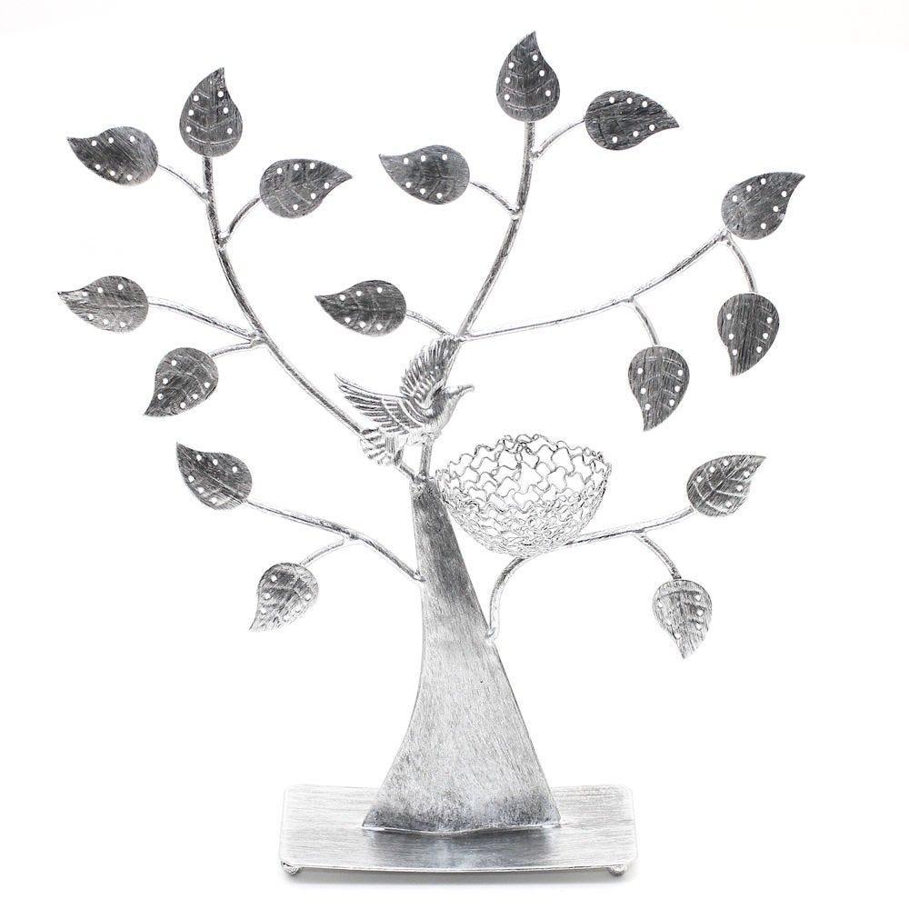 Porte bijoux arbre à boucle d'oreille oiseau (50 paires) gris patiné (photo)