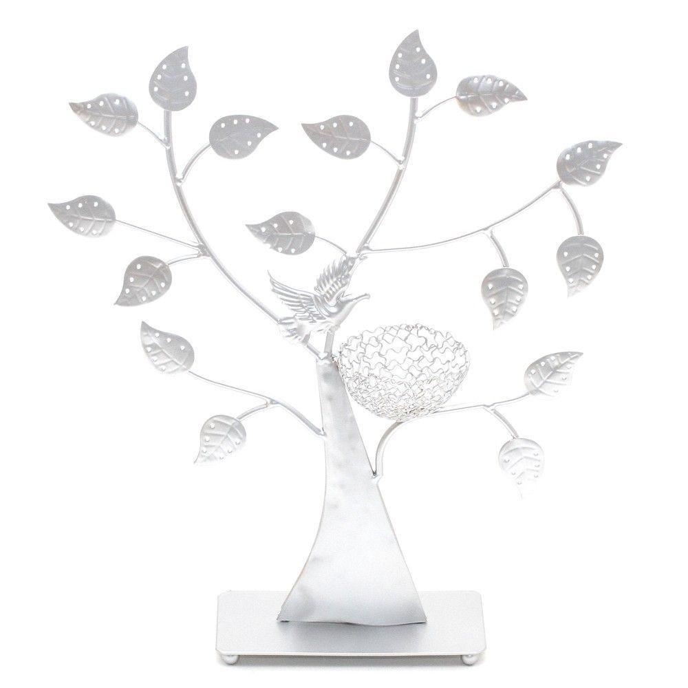 Porte bijoux arbre à boucle d'oreille oiseau (50 paires) gris (photo)