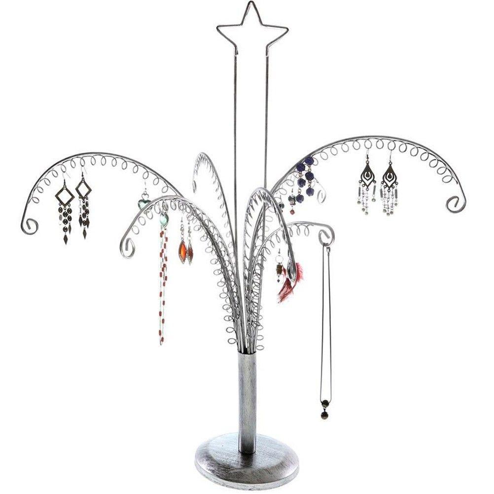Porte bijoux arbre à boucle d'oreille (90 paires) gris patiné
