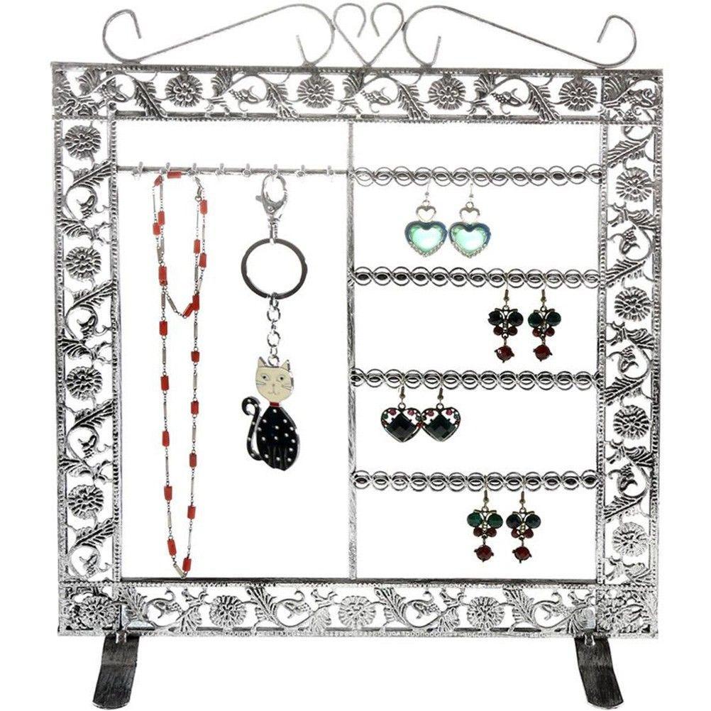 Porte bijoux mixte collier boucle bracelet gris patiné