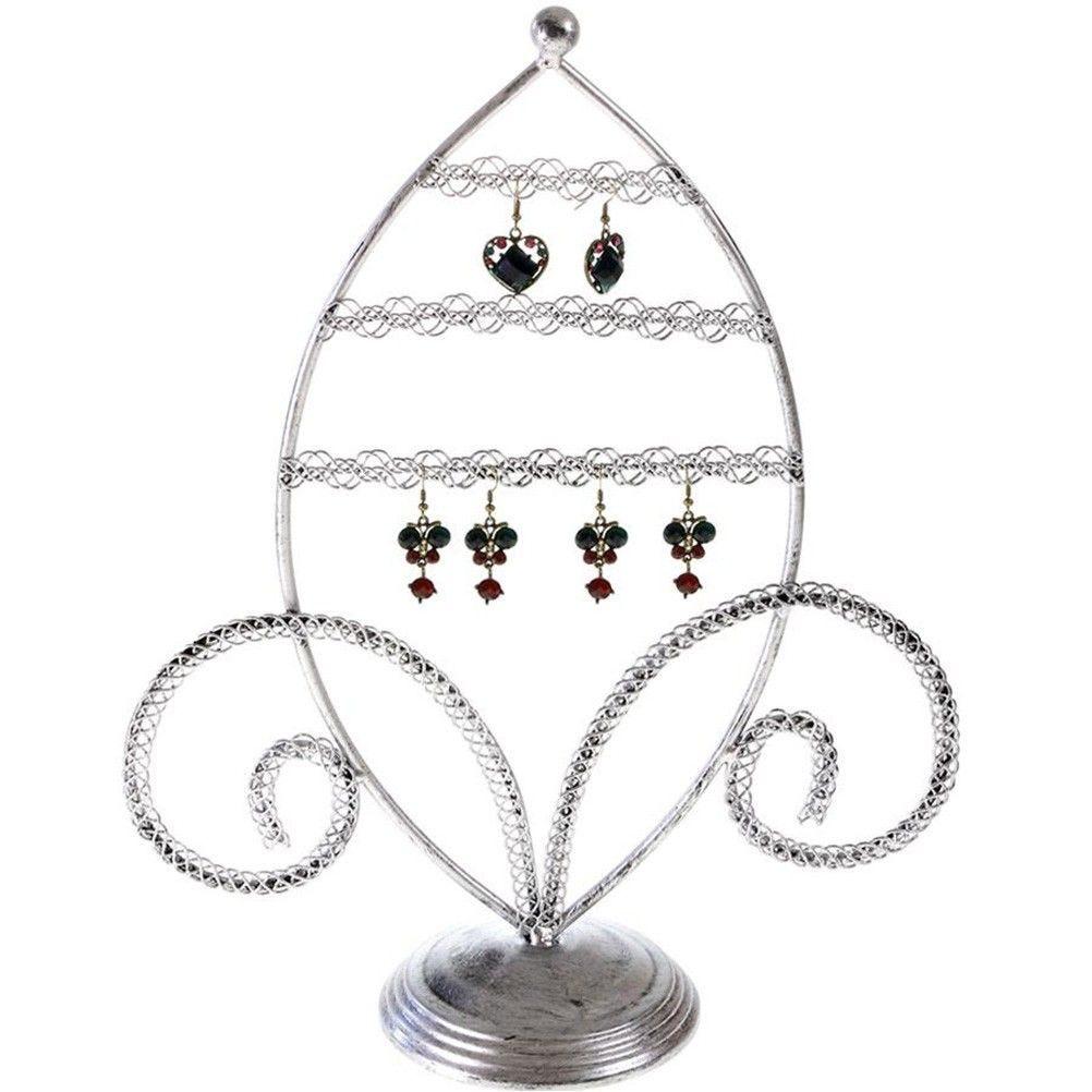 Porte bijoux porte boucle d'oreille amande gris patiné