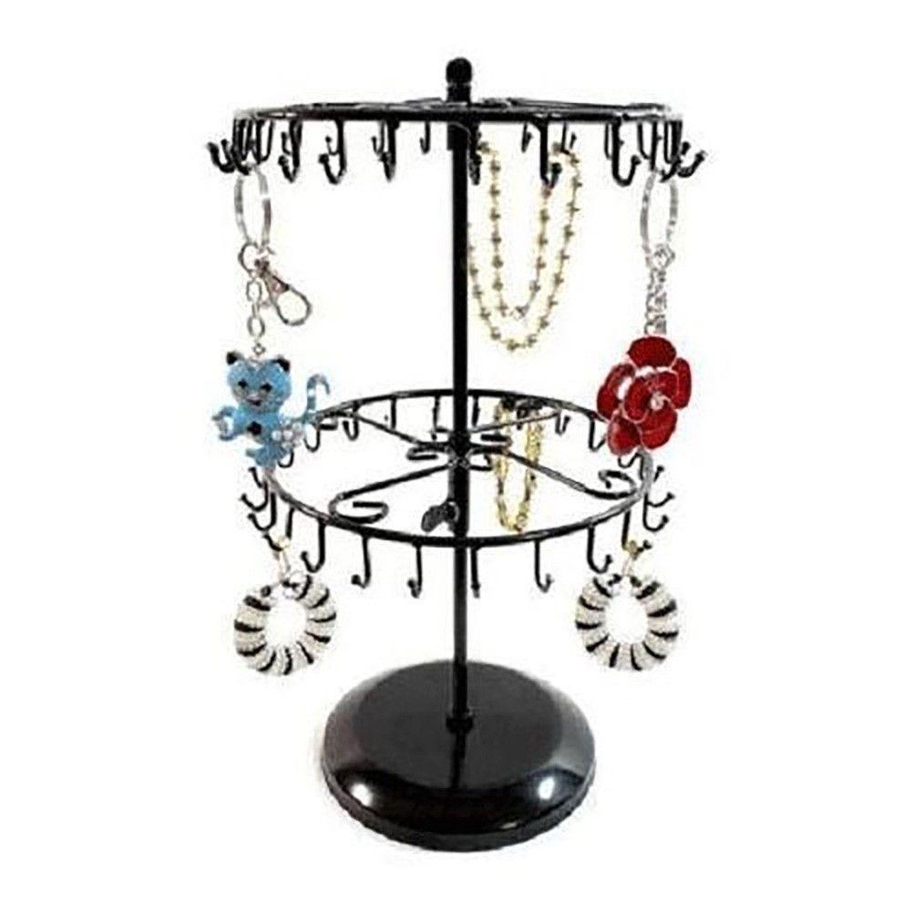 Porte bijoux manège réglable à 40 crochets noir