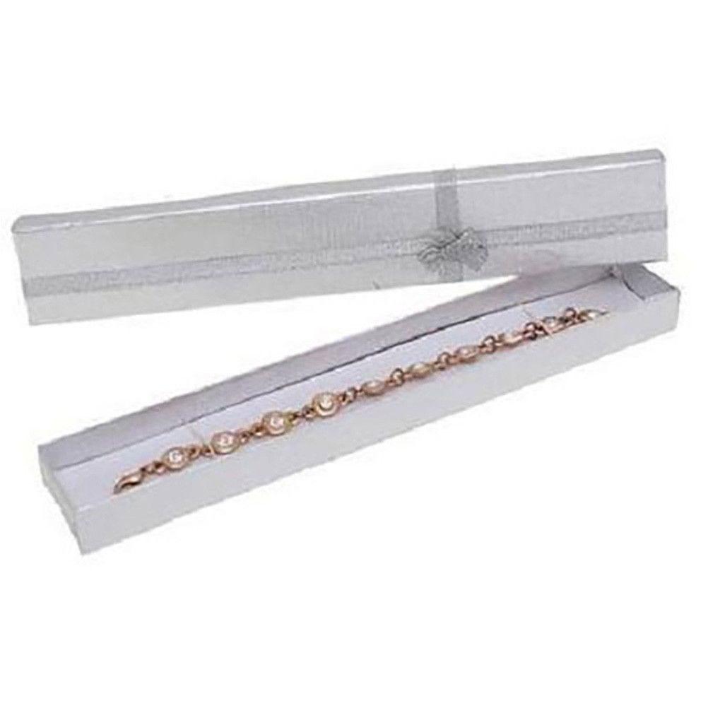 Emballages ecrin pour bracelet avec noeud 4 x 20 cm argenté - par 12 (photo)