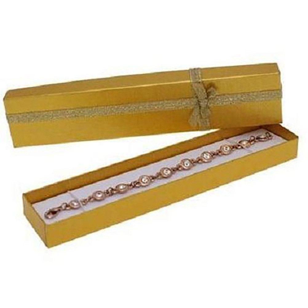 Emballages ecrin pour bracelet avec noeud 4 x 20 cm doré - par 12 (photo)