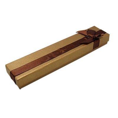 Emballages ecrin pour bracelet avec noeud 4 x 20 cm brun - par 12 (photo)
